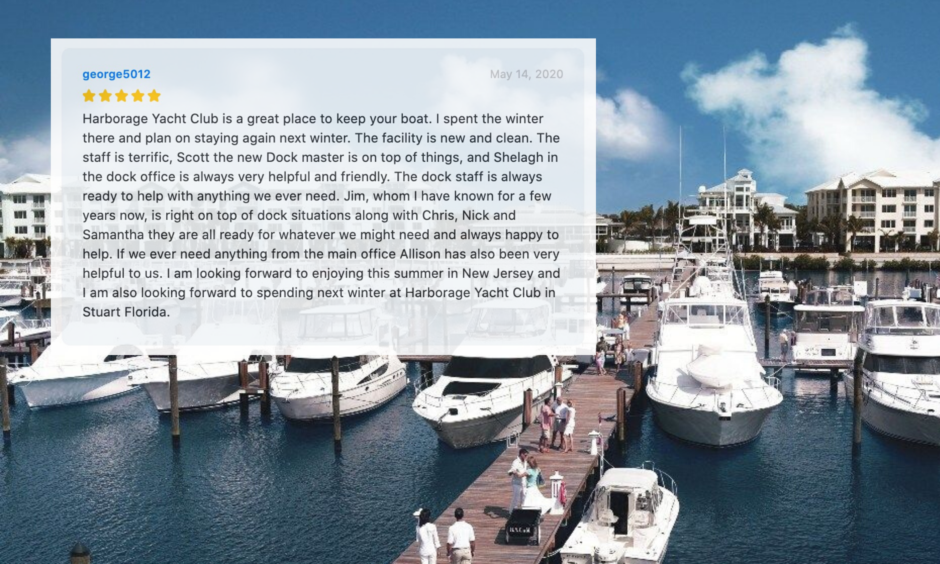 What makes a great marina review?